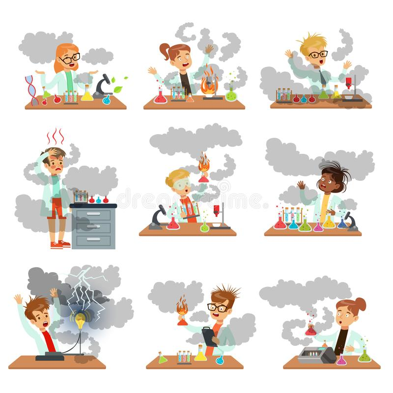 Kid chemists characters posing in different situations looking dirty after failed chemical experiments set of vector stock illustration
