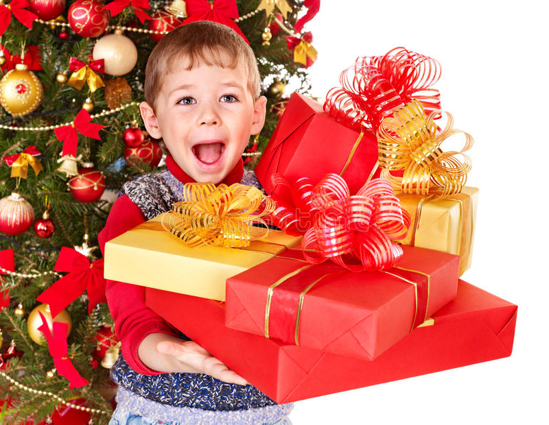 Download Kid With Christmas Gift Box. Stock Photo - Image: 22250520