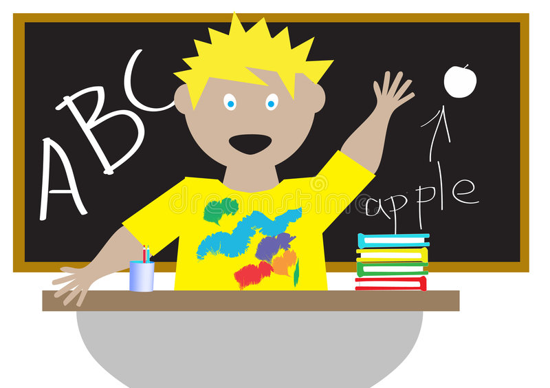 Download Kid in a classroom stock vector. Image of chalkboard, drawing - 8227656