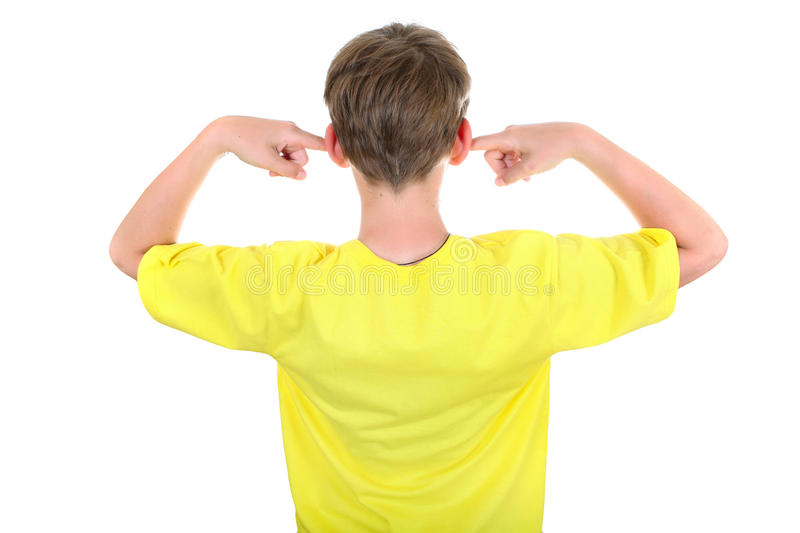 Kid with Closed Ears. Rear view of a Kid with cover Ears Isolated on the White Background stock photography