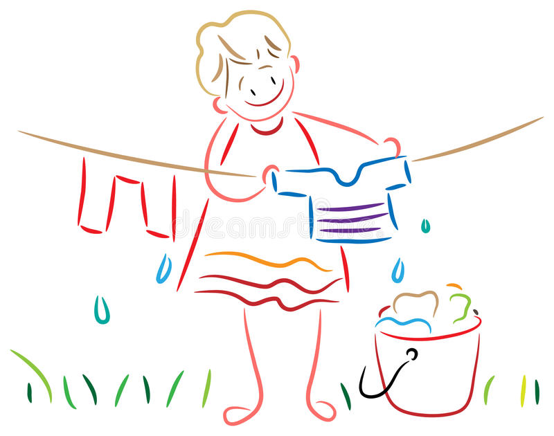 Kid with clothesline. Girl with clothesline clip art cartoon image vector illustration