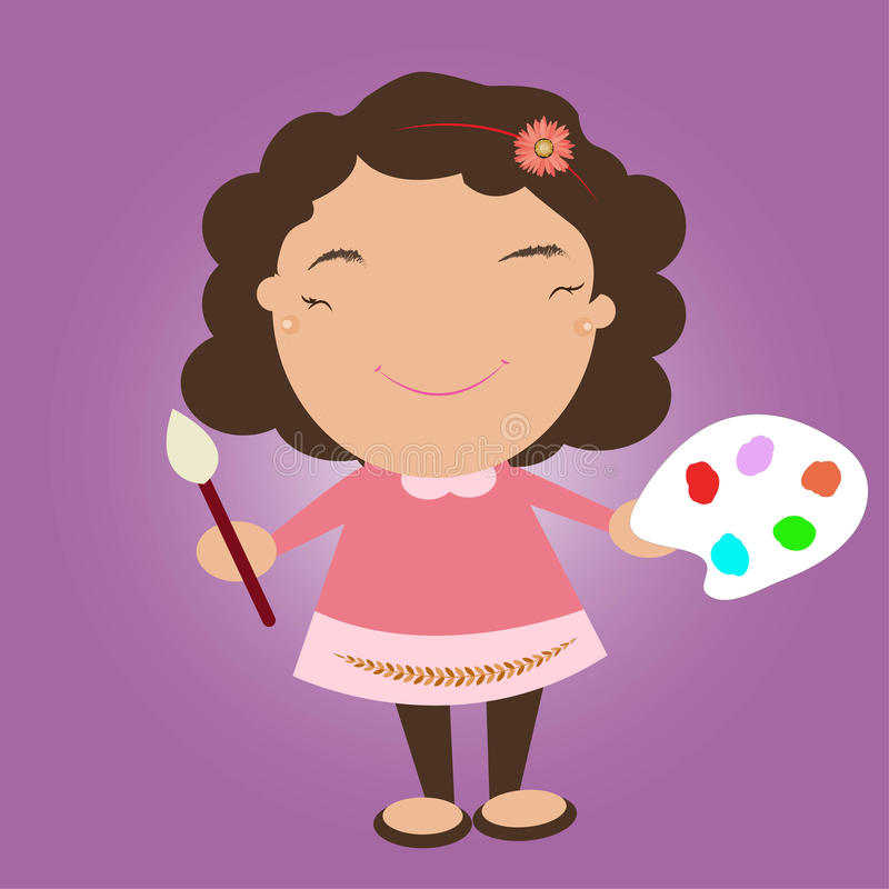 Kid with color pallet and paint brush stock photos
