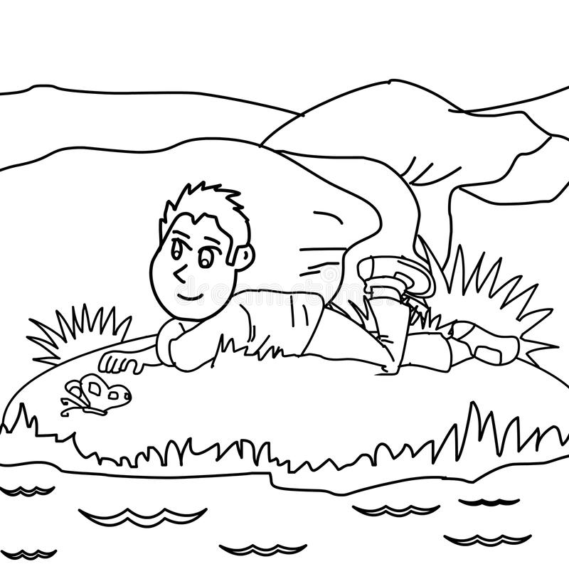 Kid coloring page. Hand drawn kid coloring page for kids stock illustration