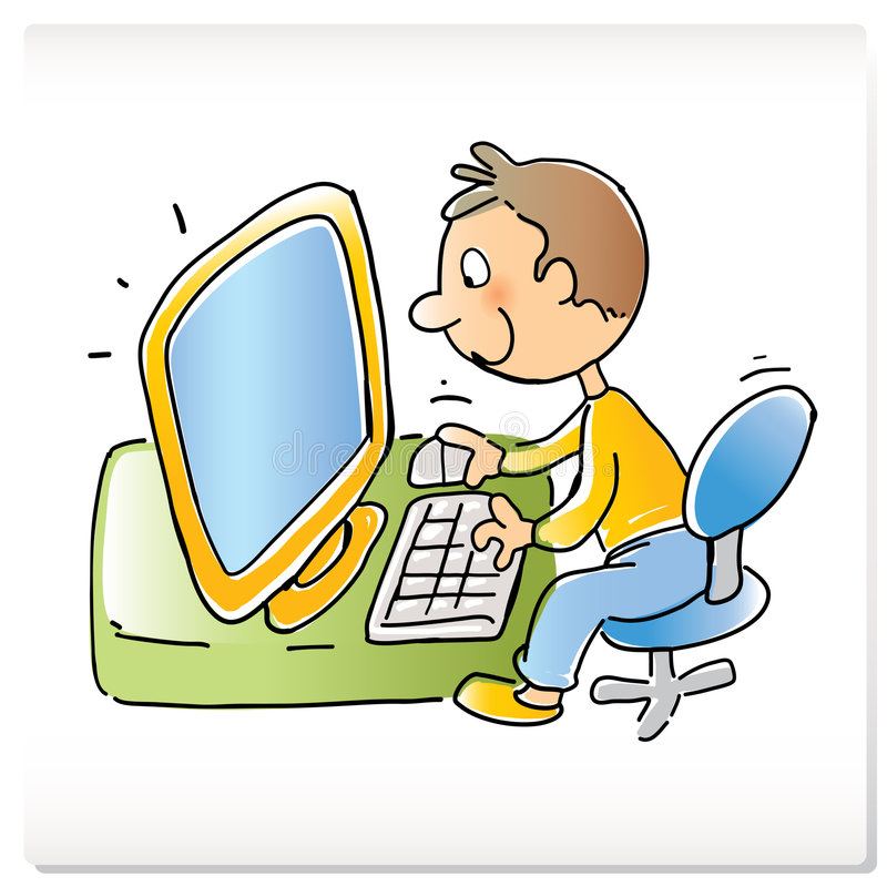 Kid with computer. Vector cartoon funny boy with computer, hand- drawing style royalty free illustration
