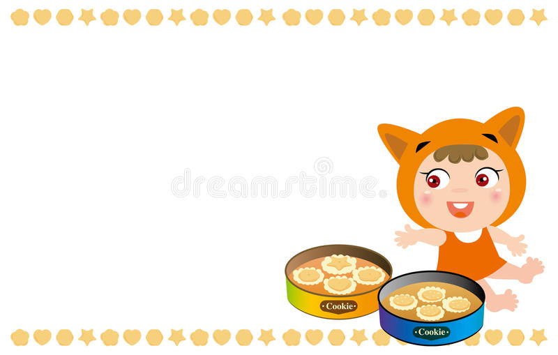 Kid and cookies frame stock illustration