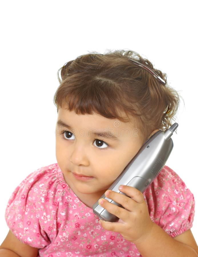 Kid with cordless phone stock image