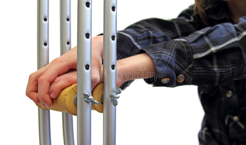 Download Kid And Crutches Stock Photo - Image: 23300980