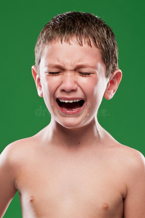 Kid crying with pain