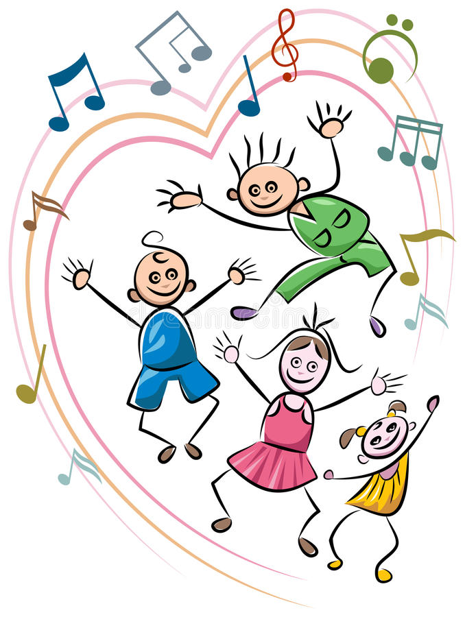 Kid dance. Kids dance with music funny cartoon stock illustration