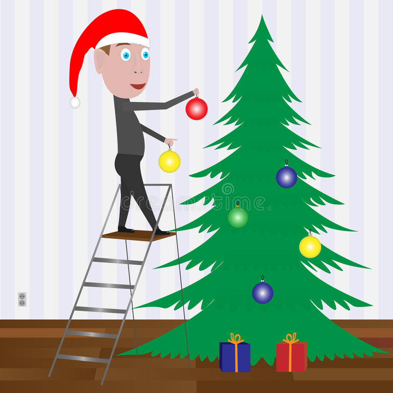 Kid Decorating The Christmas Tree With Balls. Stock Photos