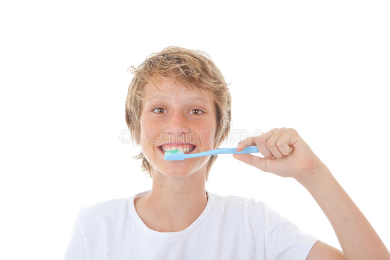 Kid dental health. Child cleaning teeth stock image