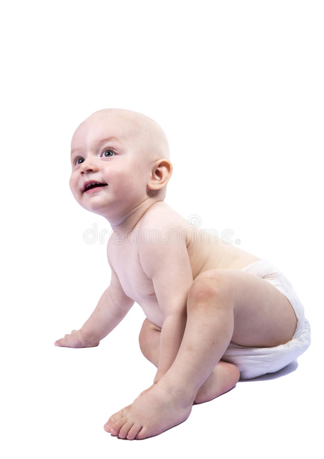 The kid in the diaper royalty free stock photo