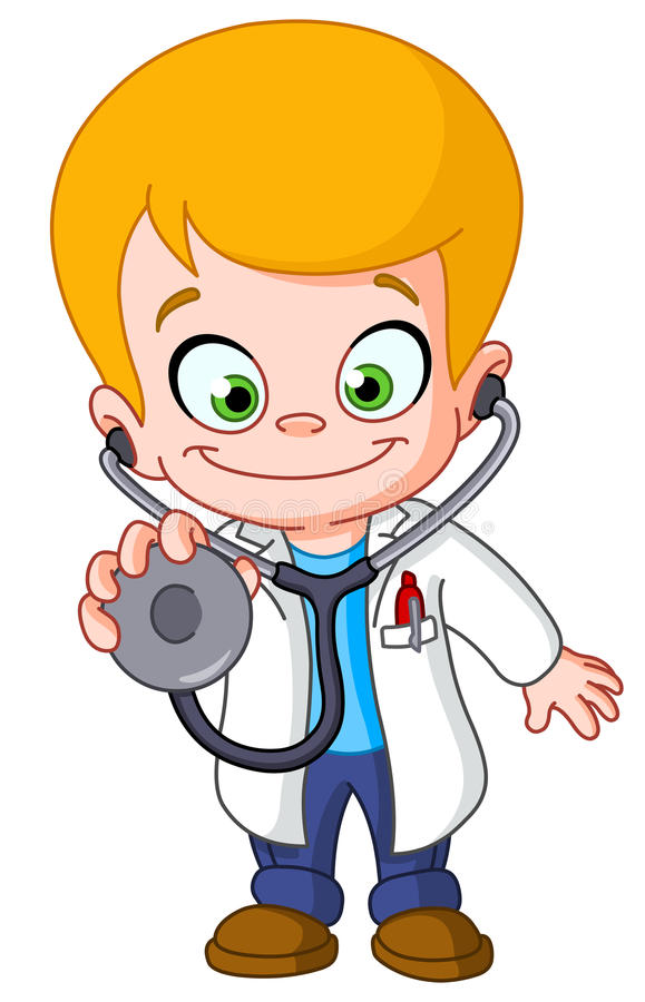 Kid doctor. With a stethoscope vector illustration