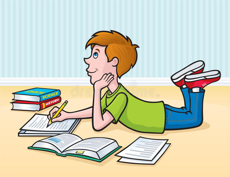 Kid Doing Homework On The Floor. Cartoon illustration of a boy doing his homework assignment on the floor with books and papers surrounding him vector illustration