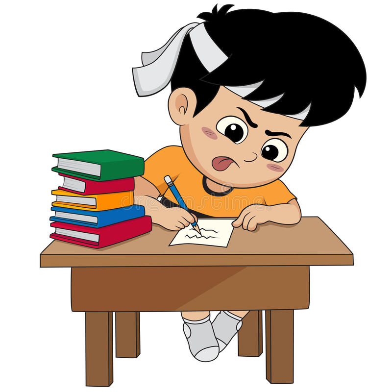 Kid doing a homework. Vector and illustration stock illustration