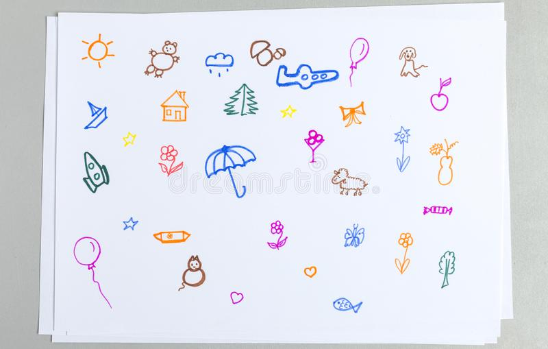 Kid doodle set of different colorful outline animals, flowers and elements royalty free stock photography