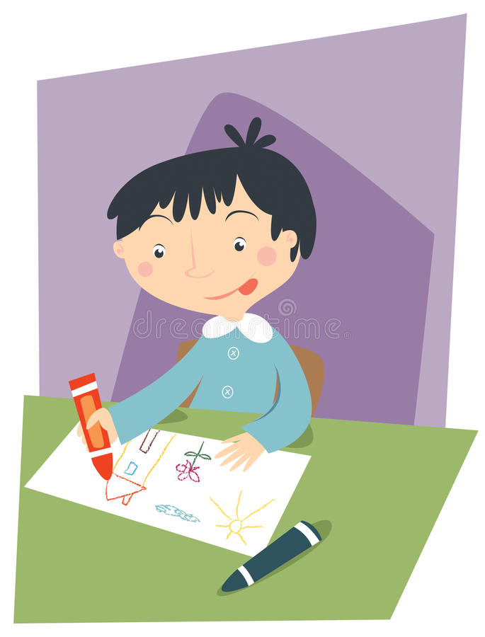 Kid drawing. Illustration of a kid at school drawing stock illustration