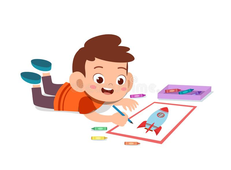 kid drawing with crayon vector vector illustration