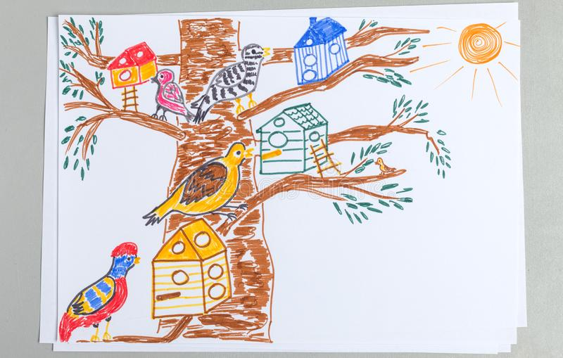Kid drawing of tree with lots of different birds and nesting boxes royalty free illustration