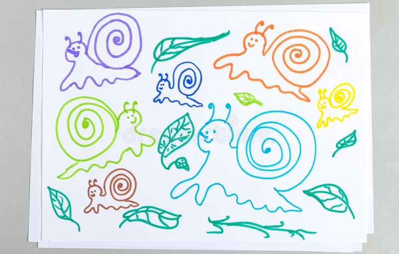 Kid drawings set of different snails and plant leaves. Isolated on white background - colorful outline child scribble of cute slimy animals with spiral shell stock image