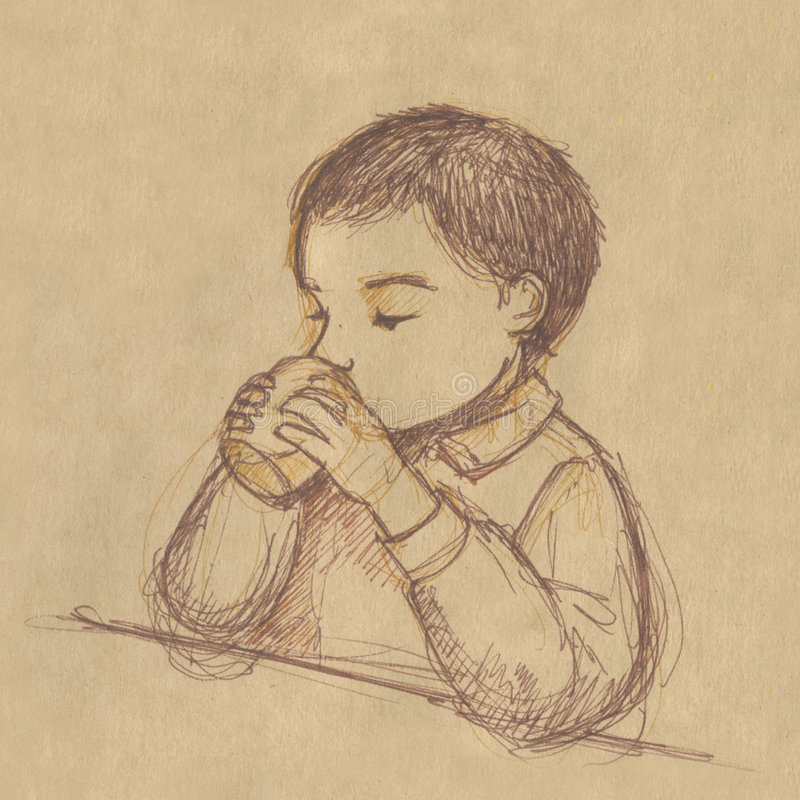 Download Kid Drinking  - Sketch On Sepia Paper Stock Illustration - Image: 1705930