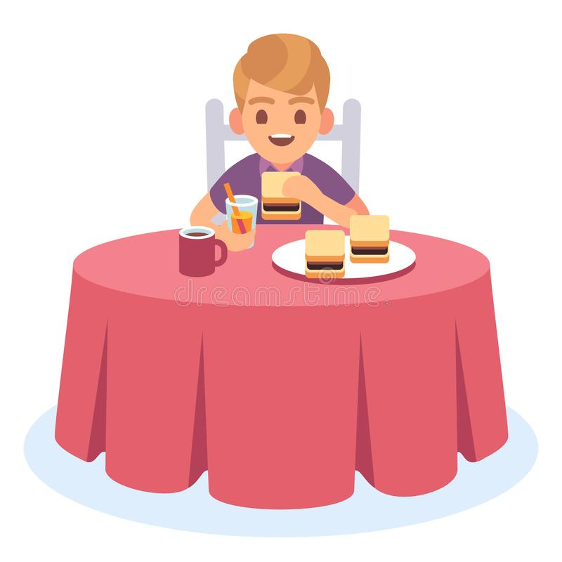 Kid eat. Child eating cooked breakfast dinner lunch, health food drink meal hungry boy table plate, cartoon character stock illustration