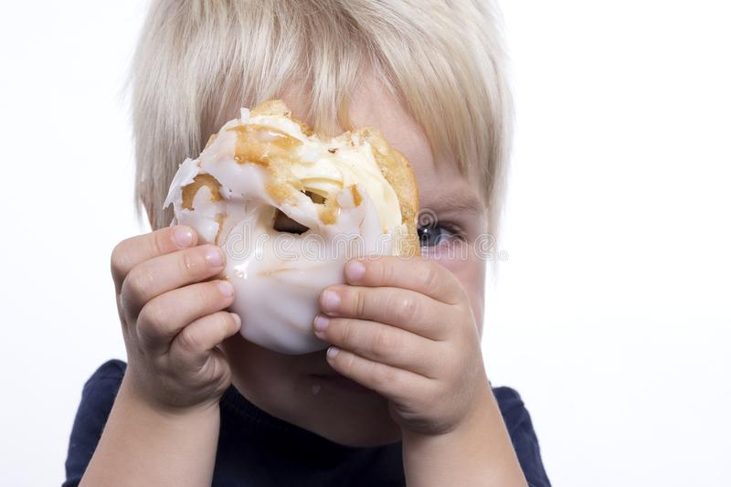 Boy with cake royalty free stock photo