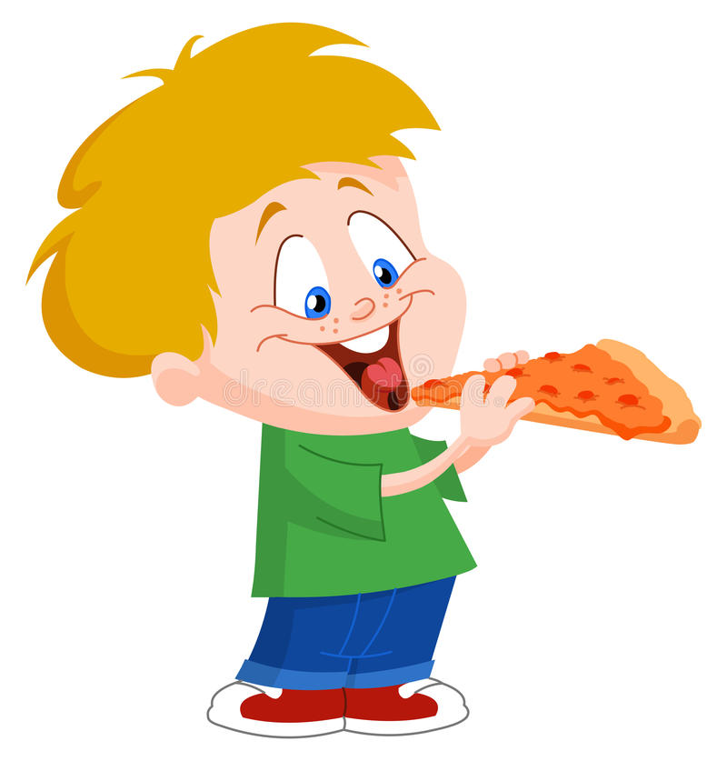 Kid eating pizza. Illustration of a cute boy eating pizza stock illustration
