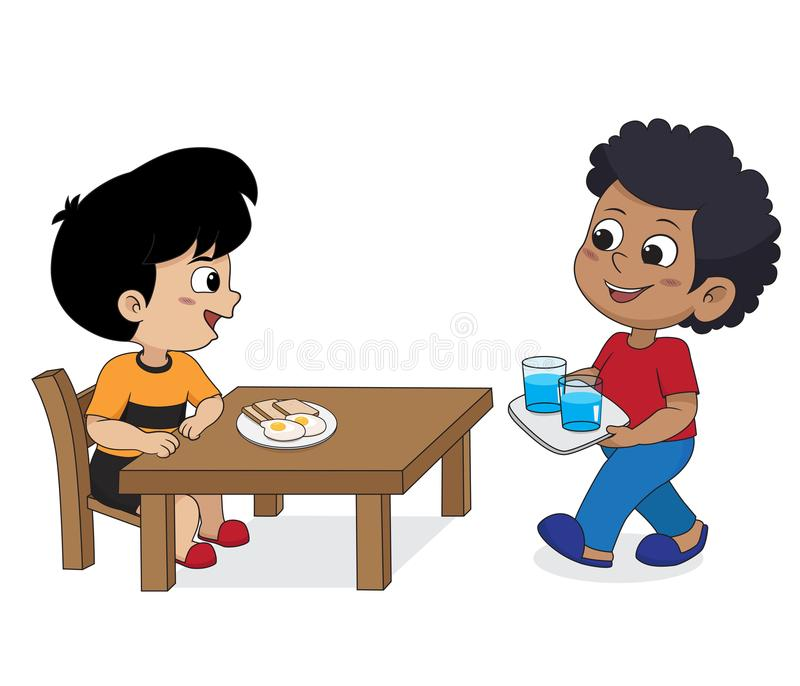 Kid eating and talking with friends.Vector. In the moring,Kid eating and talking with friends.Vector and illustration stock illustration