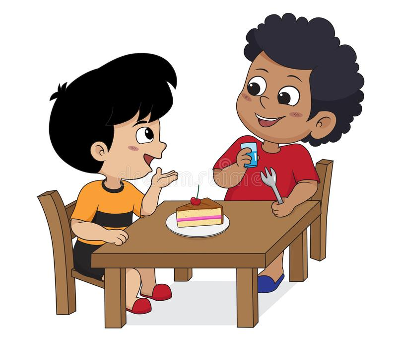 Kid eating and talking with friends.Vector. In the morning,Kid eating and talking with friends.Vector and illustration vector illustration
