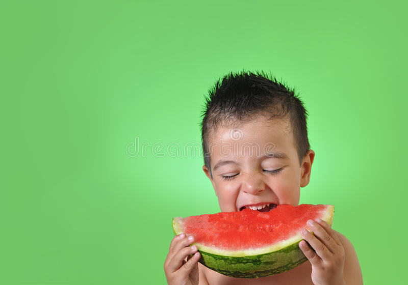 Download Kid eating watermelon stock image. Image of food, melon - 15848869