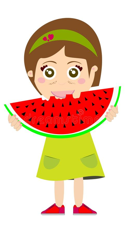 Download Kid Eating Watermelon stock illustration. Illustration of spring - 24731521
