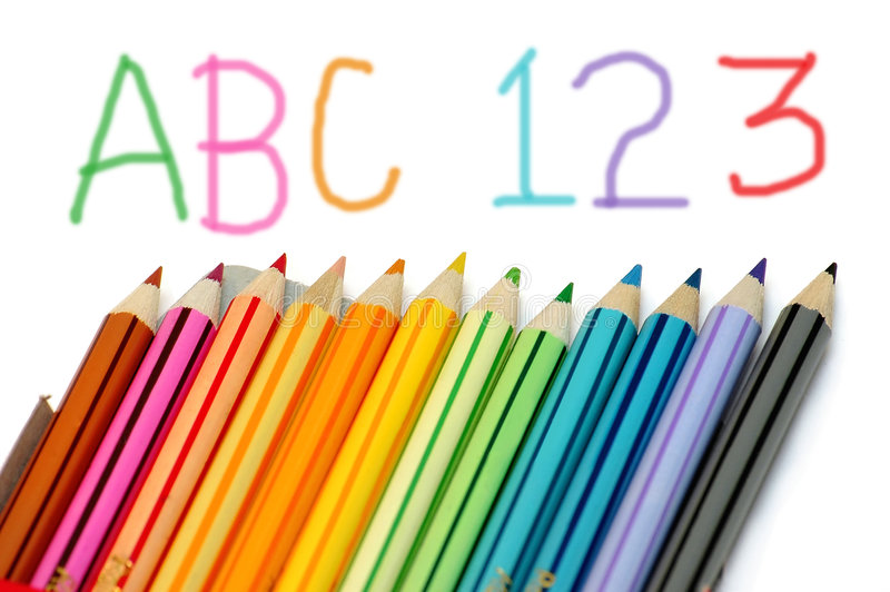 Kid education. They learn ABC with color