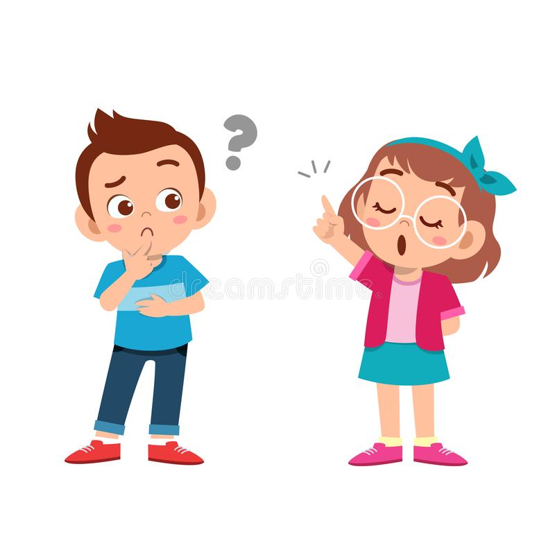 Kid explain to friend vector illustration. Advice, avatar, back, school, book, boy, cartoon, character, child, childhood, class, comic, cute, education vector illustration