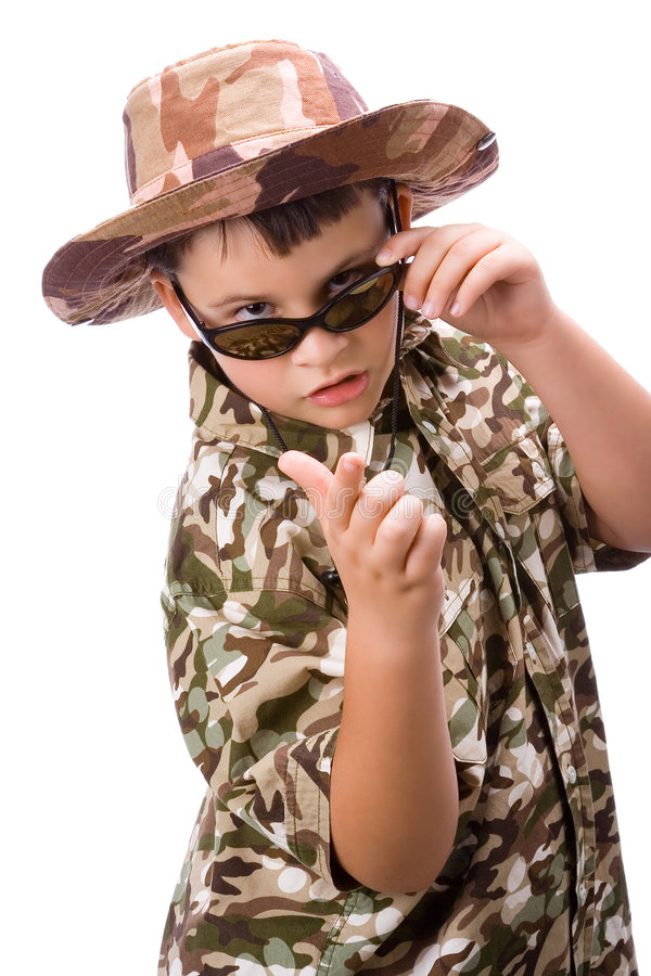 Kid with explorer disguise stock photography