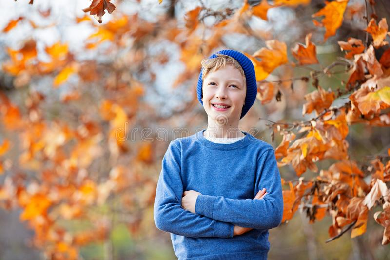 Kid at fall royalty free stock photo