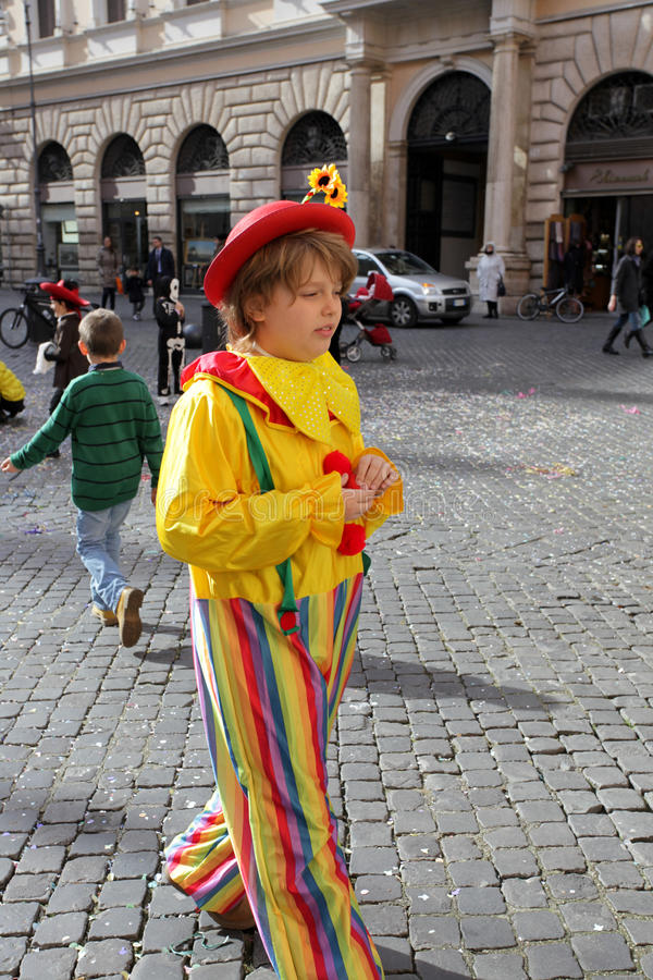 Kid With Fancy Dress In Piazza Navona Editorial Photo
