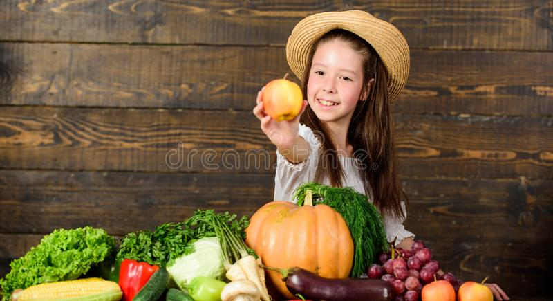 Kid farmer with harvest wooden background. Family farm festival concept. Farm activities for kids. Traditional autumnal. Fest. Child celebrate harvesting. Girid stock image