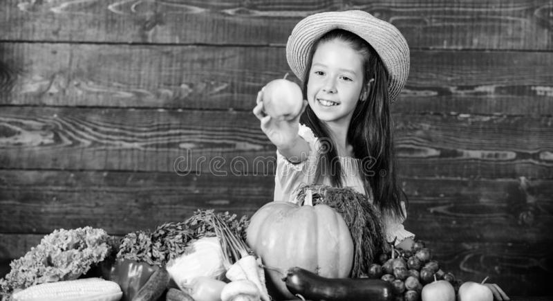 Kid farmer with harvest wooden background. Family farm festival concept. Farm activities for kids. Traditional autumnal stock photography