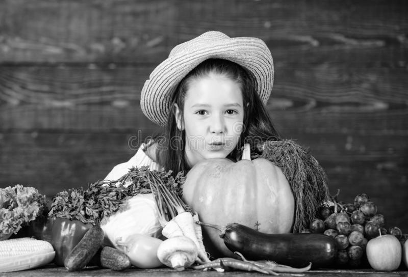 Kid farmer with harvest wooden background. Family farm festival concept. Farm activities for kids. Traditional farm. Market. Child celebrate harvesting. Girl stock images