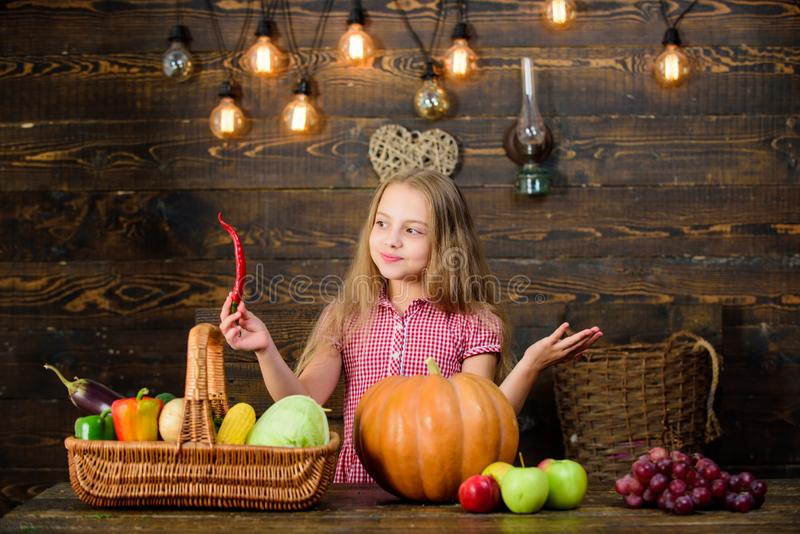 Kid farmer with harvest wooden background. Family farm festival concept. Farm themed games and activities for kids. Girl. Kid at farm market with fall harvest royalty free stock photo