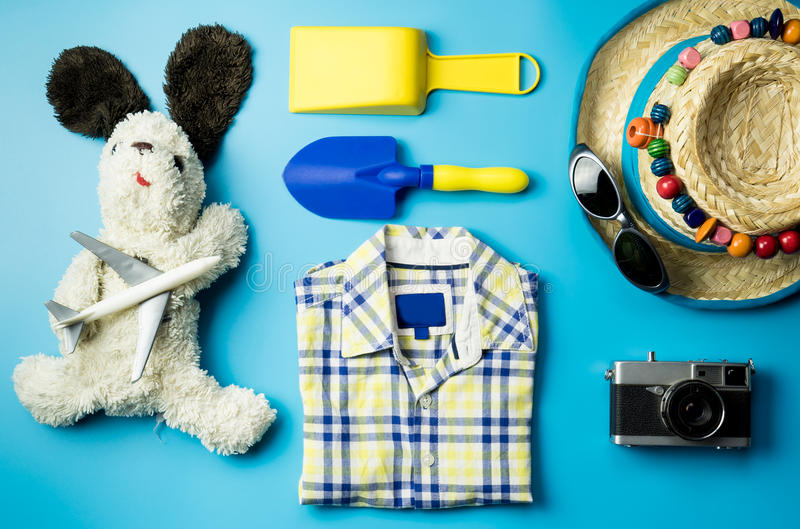 Kid fashion and beach accesories flatlay royalty free stock photos
