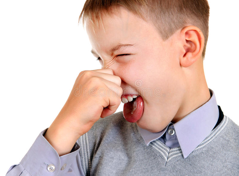 Kid feel a Stink. Displeased Kid feel a Stink Isolated on the White Background royalty free stock images
