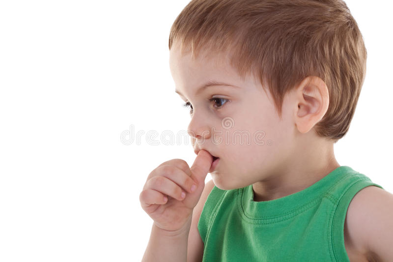 Download Kid With Finger In His Mouth Stock Image - Image: 15159011
