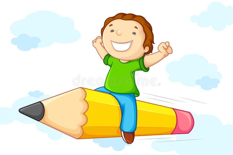 Kid flying on Pencil royalty free illustration