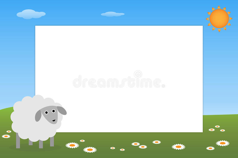 Kid frame - sheep. Illustration of a frame for kid with a cute sheep.EPS file available royalty free illustration