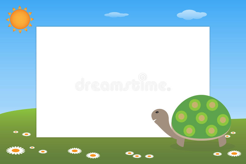 Kid frame - turtle. Illustration of a frame for kid with a cute turtle.EPS file available stock illustration