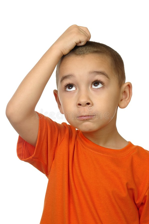 Kid frustrated looking up stock photos