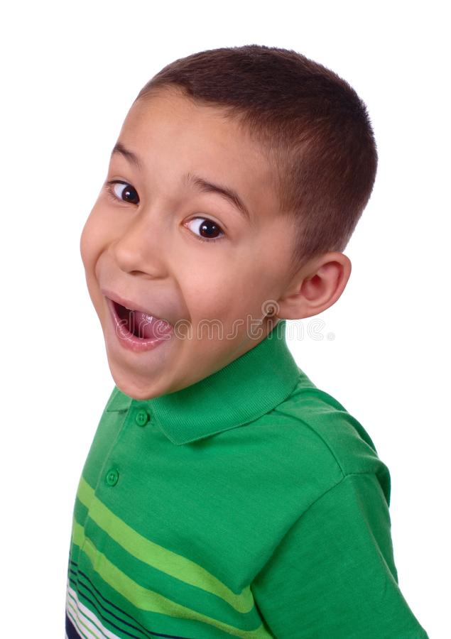 Kid with funny goofy face stock photo