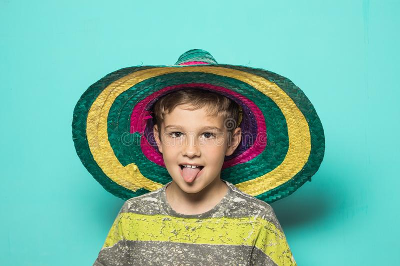 Child with a Mexican hat stock photos